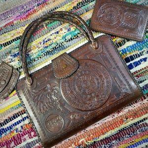 VINTAGE Tooled Leather 3-piece set